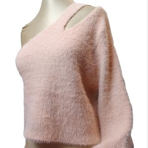 Missguided one sleeve cut out fuzzy crop sweater